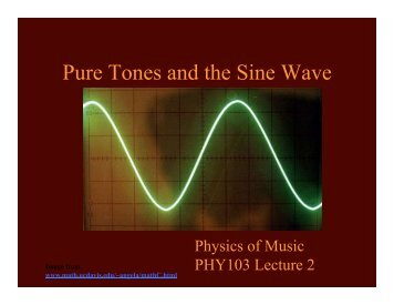 Pure Tones and the Sine Wave