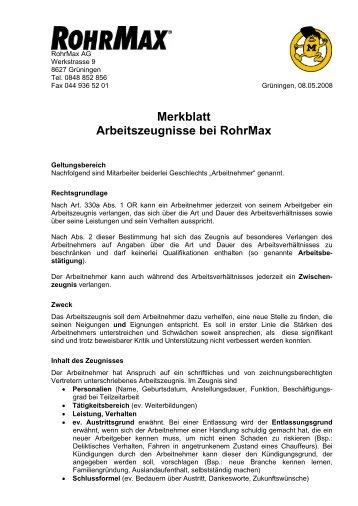 Merkblatt Arbeitszeugnisse bei Rohrmax - 0848 852 856