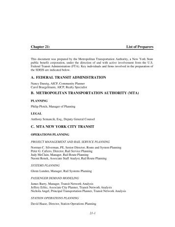 Chapter 21: List of Preparers A. FEDERAL TRANSIT ... - MTA.info