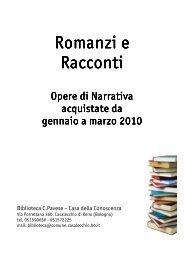 Romanzi e racconti - Casalecchio delle Culture