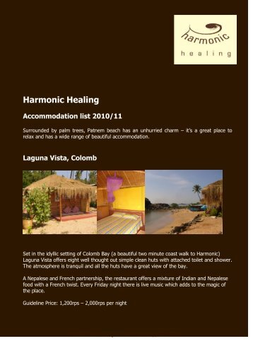 Accommodation listing – click here for PDF - Harmonic Healing