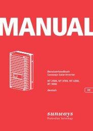 Benutzerhandbuch Sunways Solar-Inverter NT 2500, NT 3700, NT ...