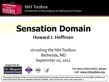 Sensation Domain - NIH Toolbox