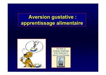 Aversion gustative : apprentissage alimentaire