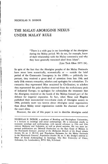 the malay-aborigine nexus under malay rule - Sabrizain.org