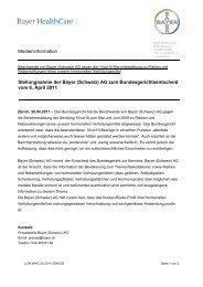 Medieninformation Stellungnahme der Bayer (Schweiz) AG zum ...