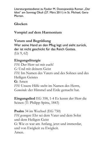 Glocken Vorspiel auf dem Harmonium Votum und Begrüßung (Lk 9 ...