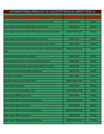 INTERNATIONAL PRICE LIST OF CALCUTTA MUSICAL DEPOT ...