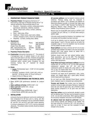 Product Specification Harmonium xf™ Tile - Johnsonite