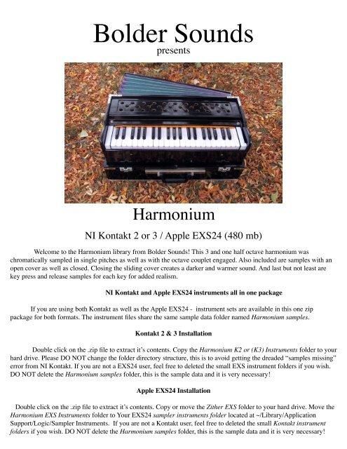 Harmonium pdf - Bolder Sounds