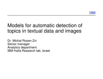 Models for automatic detection of topics in textual data and images