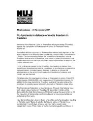 NUJ protests in defence of media freedom in Pakistan - International ...