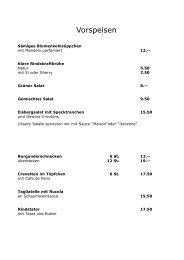 Speisekarte - Restaurant zur Rose, Oberembrach