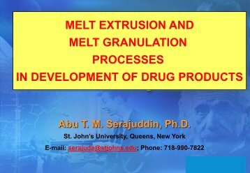 melt extrusion and melt granulation processes in development of ...
