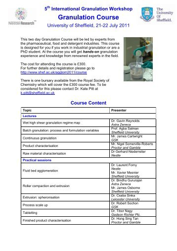 5th international granulation workshop university of for Timetable 85 sheffield