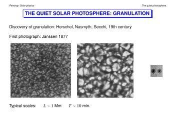 THE QUIET SOLAR PHOTOSPHERE: GRANULATION