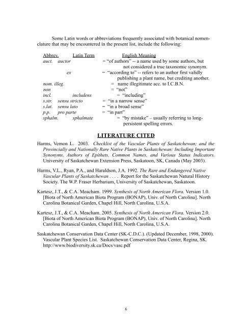 Checklist of the Vascular Plants of Saskatchewan - Native Plant ...