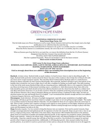 ADDITIONAL ESSENCES AVAILABLE from Green Hope Farm, LLC ...