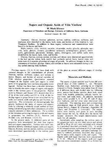 Sugars and Organic Acids of Vitis Vinifera- - Plant Physiology