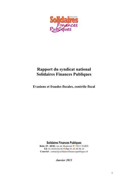 Rapport du syndicat national Solidaires Finances Publiques