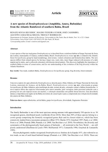 Zootaxa, A new species of Dendrophryniscus (Amphibia, Anura ...