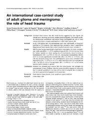 An international case-control study of adult glioma and meningioma ...