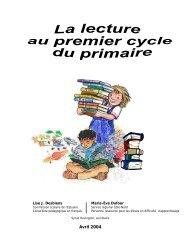 La lecture au premier cycle du primaire - Commission scolaire de l ...