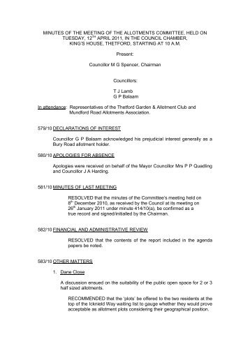minutes of the meeting of the allotments committee, held on tuesday ...