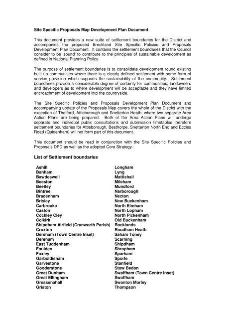 List of Settlement boundaries - Breckland Council
