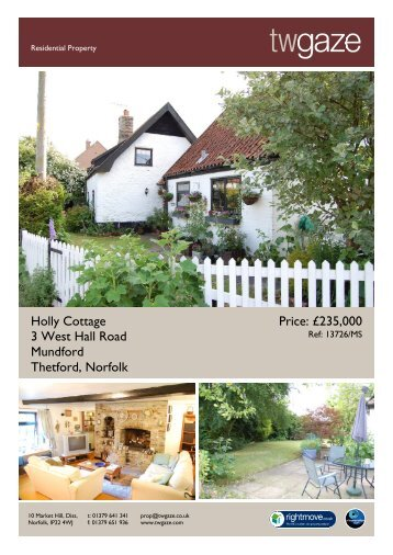Holly Cottage 3 West Hall Road Mundford Thetford, Norfolk ... - Vebra