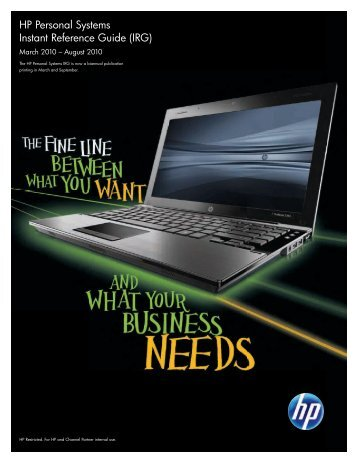 HP Personal Systems Instant Reference Guide ... - The Ardent Group