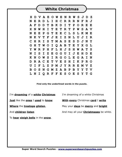 white christmas word search puzzles
