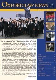 OxFORd lAw NEwS - Faculty of Law - University of Oxford