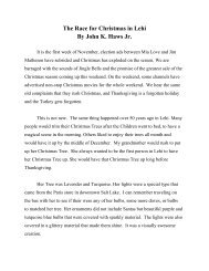 The Race for Christmas in Lehi By John K. Haws Jr.