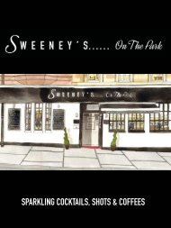 sparkling cocktails, shots & coffees - Sweeneys on the park