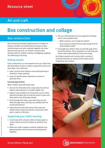 Box construction and collage - The Department of Education ...