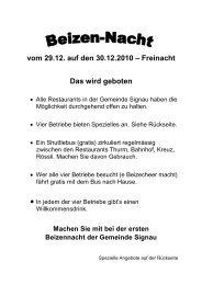 vom 29.12. auf den 30.12.2010 - Restaurant Rössli Schüpbach