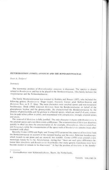 heterobasidion (fomes) annosum and the bondarzewiaceae - CBS