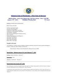 Kiwanis Club of Pembroke – 91st Year of Service - KiwanisOne.org