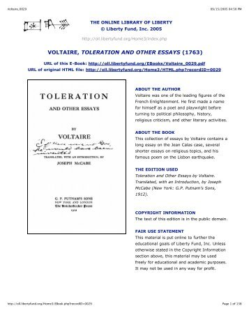 voltaire voltaire toleration and other essays 1763 online library of