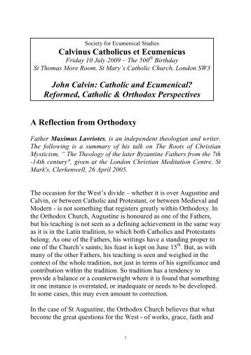 Maximus Lavriotes: John Calvin at 500 - Society for Ecumenical ...