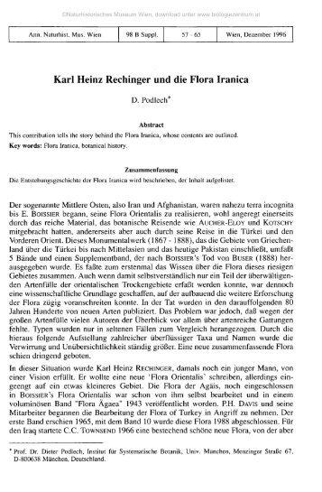 Karl Heinz Rechinger und die Flora Iranica