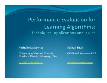 Performance evaluation of learning algorithms - Mohak Shah