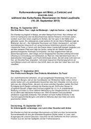 Kulturwanderungen mit MIRELLA CARBONE und ... - Kubus-sils.ch