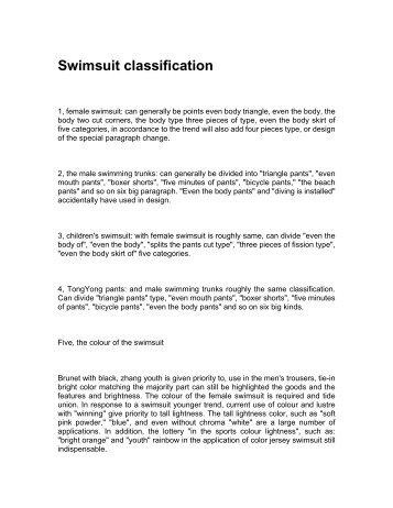 Swimsuit classification