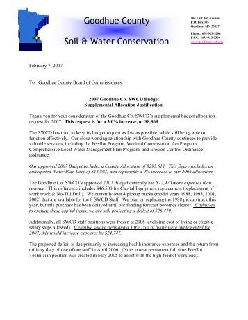 Soil and Water Request - Goodhue County