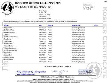 Kosher Certificate - PDF - Mirfak Pty Ltd