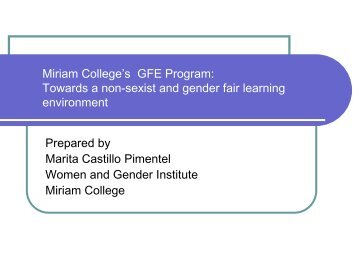 Miriam College's Gender Fair Education Program