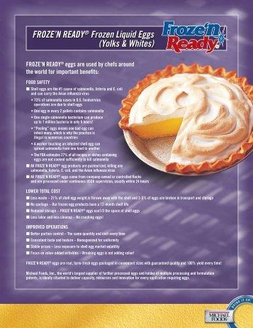 FROZE'N READY® Frozen Liquid Eggs - Michael Foods