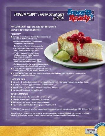 Michael Foods Froze'n Ready Frozen Liquid Eggs Hytex English